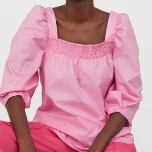 NWT Pink Puff Sleeve Blouse